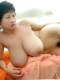 Posh chinese milf is covered with semen